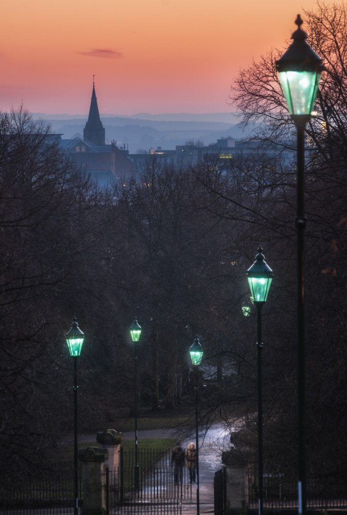As the lights come on – view back from Corporation Oaks , Nottin