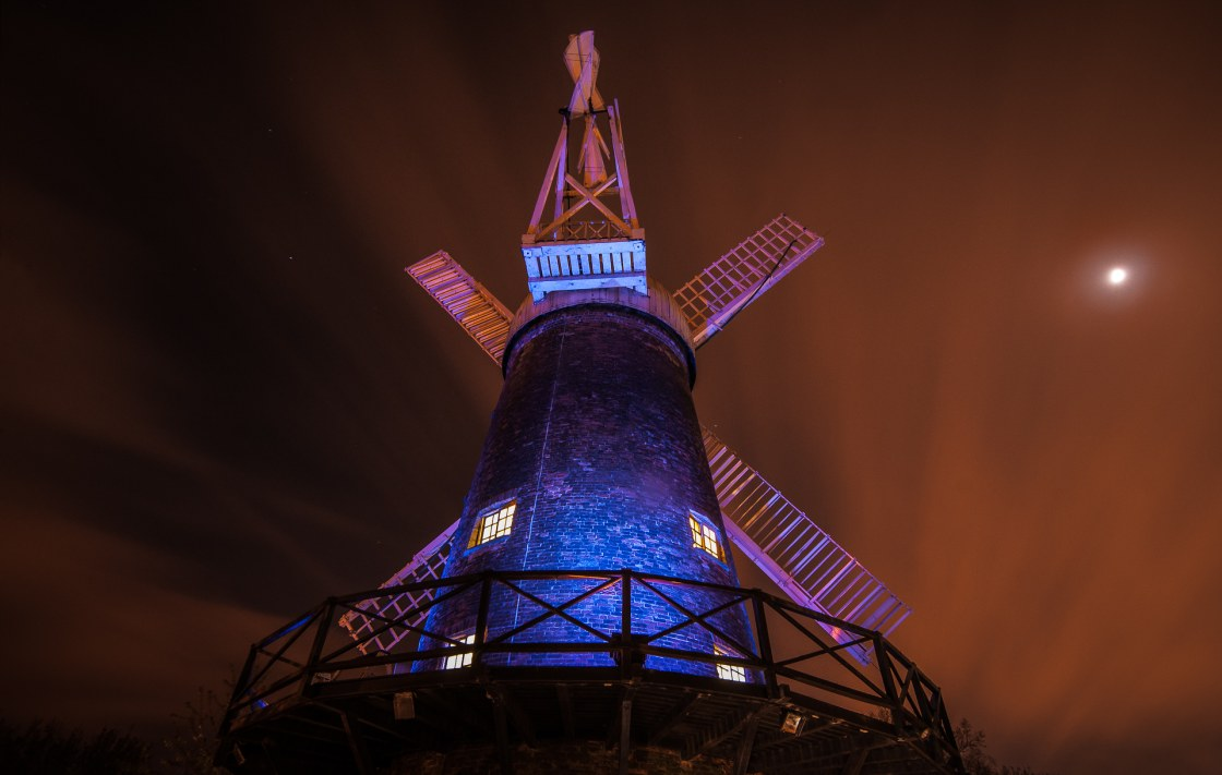 Green's Mill in blue – World Autism Awareness , 2014