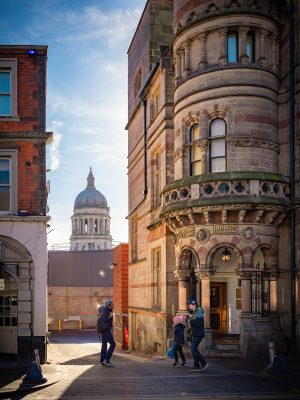 Photograph of Nottingham Council House dome and Express Offices by Watson Fothergill